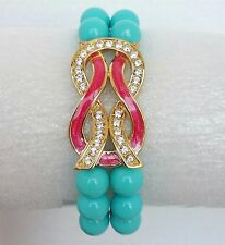 Enamel Bracelet Womens New Love Infinity Knot Crystals Stretch Expansion Roland
