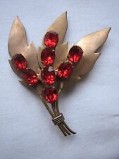 Ruby Red Glass Stones Flower Bouquet Vintage Stunning Deco Czech Brooch Pin