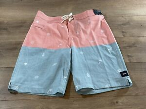 Vans By Halfsies BOA Boys Board Shorts Coral/Blue Youth Large ( VN0A5E6NZD7 )