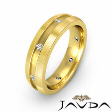 Diamond Men Eternity Wedding Band 14k Yellow Gold Side Brushed Solid Ring 0.16Ct