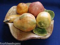 CAPODIMONTE FRUIT ITALIAN BISQUE CENTERPIECE-VINTAGE-FRUIT BASKET-MADE IN ITALY