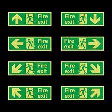 Photoluminescent -  Fire Exit Sign - 300x100mm - Plastic - All Direction Arrows