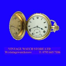 WW1 14k Gold Swiss Tavannes 15 Jewel Hunter Repousse Pocket Watch 1917