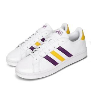 adidas Grand Court White Purple Yellow Men Classic Casual Shoes Sneakers FW5907
