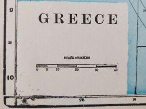 "Vintage 1902 GREECE Map 11""x14"" ~ Old Antique Original ATHENS SPARTA THEBES"