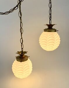 Vtg Pineapple Gold/Brass White Glass Double Swag Light Fixture Hollywood MCM