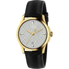 Gucci G-Timeless Silver Dial Black Leather Men's Watch-YA1264027