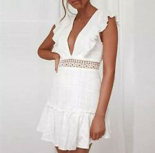 Cotton summer white boho frill mini backless dress of dolls cb S 8 The House NEW