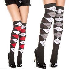 Black Diamond Red Striped Argyle Pattern Tights Business Knee High Socks Tights