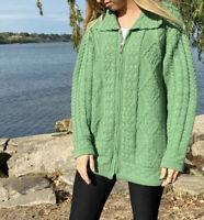 ARAN CRAFTS Ireland Green Sweater Zip Up Cardigan Medium Womens 100% Merino Wool