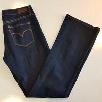 Women's Levis Size 30 x 34 Demi Curve Classic Rise Boot Jeans Blue Denim -ME15