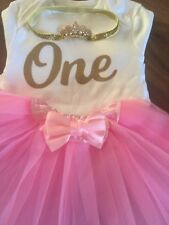 BABY GIRLS IST BIRTHDAY CAKE SMASH PHOTO ME PRINCESS PARTY OUTFIT WITH CROWN