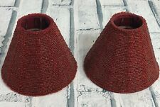 """Pair of Read Beaded Tabletop Lamp Shades ~ 4"""" Tall x 5"""" Wide"""