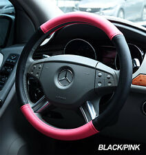 IGGEE BLACK/PINK S.LEATHER PREMIUM HIGH QUALITY STEERING WHEEL COVER 15""