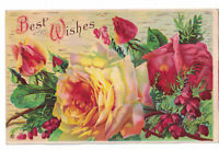 Antique Greetings Postcard BEST WISHES Yellow / Red Roses c1910s Used Unposted