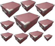 10er Geschenk Box Karton Set mit Griff Karton Box Schachtel Stapelbox Rot-Braun