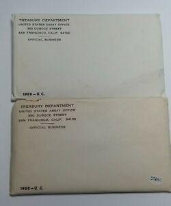3 SETS PER LOT Rare Sealed Unopened Envelopes 1968 US MINT UNCIRCULATED SETS
