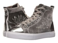 $109 Guess Women's G Force Beaded High Top Velvet Sneakers Light Grey Size 6.5
