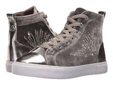 Guess Women's G Force Beaded High Top Velvet Sneakers Light Grey Size 5.5