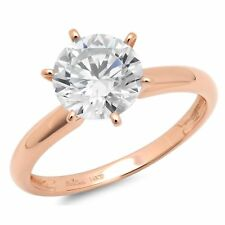 3 ct Round Cut Classic Solitaire Engagement Promise Ring Solid 14k Rose Gold