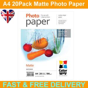 ColorWay Matte A4 190gms Photo Paper 20 Sheets