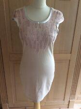 EYE CATCHING LIPSY NUDE SEQUIN DETAIL SHIFT DRESS UK SIZE 12 BNWT TINY MARK