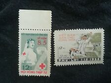 lot N°105 2 timbres NEUF VIET NAM PHU LOI DETENTION CENTER CROIX ROUGE 1960