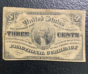 1863 3 C Fractional Currency / Nice & *No Reserve!