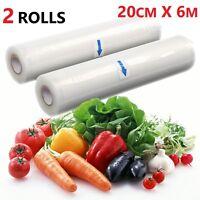 2 ROLLS 20CMX12M-TEXTURED VACUUM VACUUM SEALER SOUS VIDE FOOD SAVER STORAGE BAGS