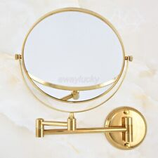 Gold Color Brass Folding Arm Wall Mount Magnifying Cosmetic Bathroom Mirror