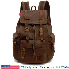 Canvas Rucksack Backpack Vintage Camping School Travel Satchel Laptop Hiking Bag