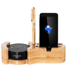 4 in 1 Bamboo Wood Desktop  Station Charging Dock Holder for Amazon Echo iPhone