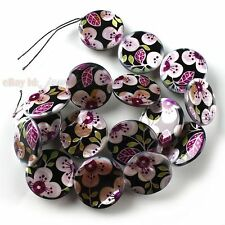 1string New 16pcs Purple Flower Style Oblate Disc Coin Shell Beads Free P&P 25mm