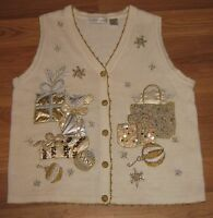 Victoria Jones Sweater Vest Appliqued Embroidered Christmas Holiday Sz M #CL201