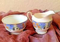 Vintage~Early AYNSLEY~Bone China~England~Cream and Open Sugar~Floral w/Gold Trim