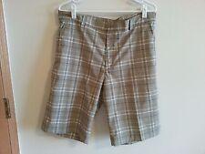 NIKE Dri Fit Golf shorts - light brown, white, blue plaid - mens 34