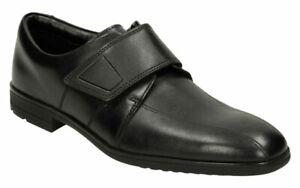 Clarks WILLIS TIME Older Boys School Shoes 3 - 8 FG Black Leather Riptape BNIB