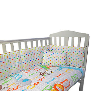 Complete ABC Bedding Set Baby Nursery Cot Fitted Pillow Sheet Duvet Bumper