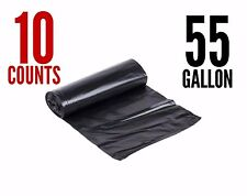 10 Large 55 Gallon Strong Commercial Trash Bag Heavy Garbage Duty Yard (Black)