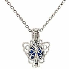 """K681 Butterfly Beads Cage Locket Pendant Necklace 18"""" Stainless Steel Chain"""