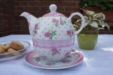 """Wunderschön: Tea for One  """" Rosè """", 3-teiliges Set aus Qualitätsporzellan"""