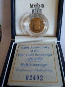 1989 Gold Proof Half Sovereign Tudor Rose  500th Anniversary.