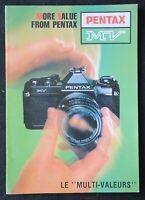 Catalogue appareil photo PENTAX MV multi valeur ASAHI catalog Katalog