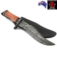 Handmade Bowie Knife, Damascus Blade, Tinted Camel Bone Handle, Leather Sheath