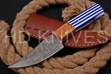 8 inch HD Custom fixed blade Damascus steel full tang Hunter skinner knife 131