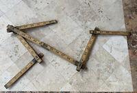 Vintage Lufkin X46 Folding Wood Rule Brass Slide Red End Ext Ruler