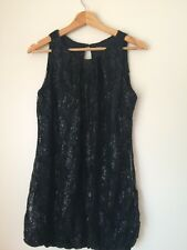 Glamorous Black Lined Lace Sleeve dress Size 12 <T4864