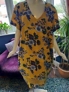 NEXT MUSTARD FLORAL SMOCK LAGENLOOK DRESS SIZE 22 LINEN BLEND