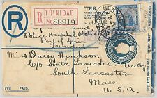 52020 - TRINIDAD TOBAGO - POSTAL HISTORY Registered STATIONERY COVER to USA 1914