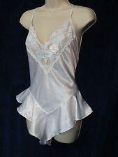 Vintage Val Mode Bridal White Satin Lace Floral Pink Blue Peplum Teddy Lingerie
